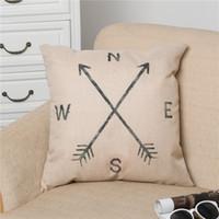 "Wholesale Compass Pillow - Retro Cotton Linen Square Vintage Throw Pillow Case Shell Decorative Cushion Cover Pillowcase Compass , 18 "" x 18 "" for Sale"