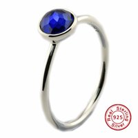 Wholesale September Sapphire - September Droplet, Synthetic Sapphire 100% 925 Sterling Silver Bead Fit Pandora Ring Fashion Jewelry DIY Charm Brand