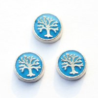 Wholesale Tree Life Floating Locket - 20pcs lot blue tree of life floating living memory locket charms