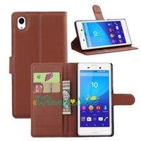 aqua brieftasche großhandel-Für Sony Xperia M4 AQUA PU Leder Brieftasche Ständer Litchi Muster Case Cover mit Kartensteckplatz + Touch Pen
