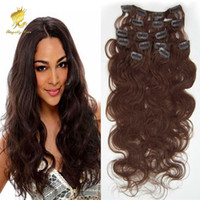 "Wholesale Curly Burgundy Hair Extensions - 100% Brazilian Human Hair body wave Clip In Hair Extensions 7PCS Full Head Set 16""-22"" Multiply Colors Free Shipping"