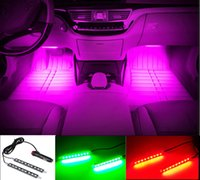 Wholesale Blue Color Car Sticker - Car Decorative Atmosphere Lamp Charge LED Interior Floor Decoration Light with Mini Dimmer LED Single Color 2PCS