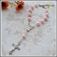 Wholesale pearl bracelets - 50pcs Religious Gifts Pink Pearl Rosary Bracelet Girl s Communion children s Baptism Favor Decade Glass Rosary