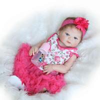 muñecas de vinilo se ven reales al por mayor-Reborn Baby Doll Realista 23 pulgadas Full Silicone Vinyl Baby Doll Look Real Princess Girl Collection Dolls Por NPK Doll