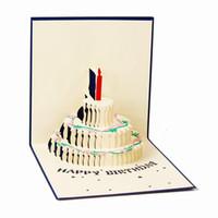 cartões 3d kirigami venda por atacado-Feliz Aniversário Bênção Criativa Kirigami 3D Pop Up Cartões de Presente Com Envelope Dobrável Papel Arte Escultura