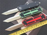 Wholesale Knife W Handle - Microtech Scarab double action Tanto Knife out the front CNC D2 steel blade Satin Plain 6061-T6 aluminum handle EDC tactical knives w  box