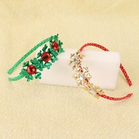 Оптовые 20pcs / 2C Xmas новогодняя вечеринка Headware Fashion Cute Glitter Gemstone Snowflake Hard Hairbands Solid Kawaii Polka Dot Headbands