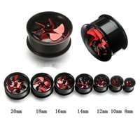 Wholesale Body Jewelry Expander - 14pcs lots 2016 Newest Punk Ear Stretcher Ear Tunnel Expander Body Jewelry Stainless Steel Red Fan Ear Plugs 8-20mm
