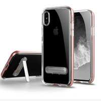 Wholesale Iphone C Tpu Bumper - Hybrid Armor Clear Case For iphone 8 7 plus 6 plus For samsung J7 2017 J7 Perx Stand Holder Bumper Transparent Cover C