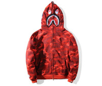 Wholesale male personality - shark Hoodies Hip Hop male head 2017 autumn and winter new Men's tide brand Men's camouflage personality hooded sweater coat