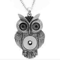 pingente snap coruja venda por atacado-OWL snap botão de jóias mais novo pingente de colar (fit 18mm 20 MM snap) NK1055 DIY vestido de Festa jóias Chiristmas