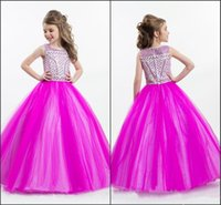 Wholesale Discounted Pageant Dress Beading - 2017 Discount Cupcake Pageant Dresses Girls Beaded Beading Colorful Crystal Jewel Cap Sleeve Tulle Zipper Flower Dresses For Kids