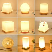 Wholesale Glass Thailand - Table Lamp Northern Europe Thailand Rubber Wood Glass Table Light Romantic Bedroom Room Dormitory Bedside Lamp without Bulb