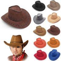 Wholesale Dressing Hats - Cowboy Hat New Suede Look Wild West Fancy Dress Mens Ladys Cowgirl Unisex Adult Women Men Children Visor Knight Wide Brim Hats HH-H06