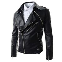 Wholesale Men S Pu Vest - Fall-(Jacket + Vest) Brand Black Pu Leather Jacket Men 2016 New Fashion Design Mens Motorcycle Biker Jacket Leather Jaqueta De Couro