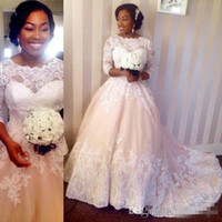 Wholesale nigerian dresses for plus sizes online - Nigerian Arabic2016 A Line Wedding Plus Size Champagne Lace Appliques Half Long Sleeves Vestidos Ne Novia Bridal Gowns For Country Wedding