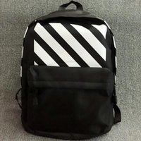 Wholesale Bag Punk Style - Off white stripes backpack Fashion school bag Avant Garde daypack Cool scrawl style street rucksack Punk daypack