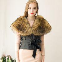 Wholesale Cropped Fur Jacket - Elegant Women Ladies Cropped Vest With Big Fur Collar Slim Black Belt Faux Leather Coat Jacket Autumn Winter Outwear S-3XL CJF0906