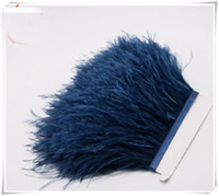 zanaat tüyleri tüyler toptan satış-Toptan 10 yards / lot Nave mavi 5-6 inç genişlik devekuşu tüyü kırpma için fringe düğün dikiş el sanatları skrit kaynağı dekor