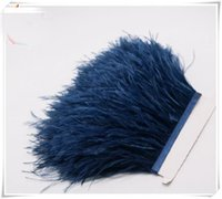 Wholesale Ostrich Feathers Trimming - Wholesale 10yards lot Nave blue 5-6 inch in width ostrich feather trimming fringe for wedding sewing crafts skrit supply decor