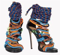 Wholesale Leather Open Front Boots - 2016 Newest Rope Open Toe Lace Up Sandals High Heels Cross-tied Bandage Mix Colors Summer Shoes High Heels Ankle Boots Free Shippinng