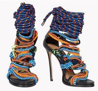 bottes à talons hauts à vendre achat en gros de-Vente chaude Marque New Rope High Heels à bout ouvert lacets Sandales Cross-Tie Bandage Mix Couleurs D'été Chaussures De Corde À Talons Hauts Bottines