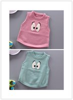 Wholesale Spring Sweater Vest For Boys - 2016 new Baby cute big eyes sleeveless pullover sweater kids sweater vest for boys and girls
