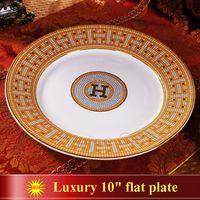 "Wholesale Porcelain Markings - Porcelain flat plates bone china ""H"" mark mosaic design outline in gold round shape 10"" flat plate bone china dish big plate"