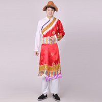 Wholesale Shirred Gown - Mongolia performing costumes male Tibetan stage outfit adult Tibetan high quality one shoulder men clothing new dress gown