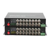 sistemas de vigilancia 16 al por mayor-Convertidores de medios ópticos de fibra de video 16 CH -16 Receptor de transmisor BNC Datos RS485 Modo único de 20Km para sistema de vigilancia CCTV