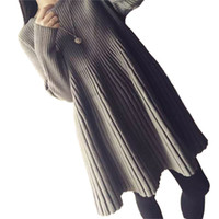 империя талия плиссированные платья оптовых-Wholesale- Mid-length Knitted Sweater Autumn Dress for Women A-Line Long Sleeve Knitted Pleated Maternity Dress Loose Empire Waist Dresses