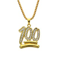 Wholesale bling numbers - Hip Hop Charm Pendants Rock Jewelry Gift Number 100 Bling necklaces N536