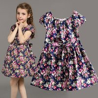 Wholesale Tutus For Kids Korea - Korea style Kids clothing summer dresses for girls summer style girl dress floral print cotton birthday party sundress baby children clothes