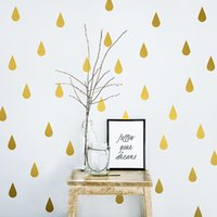 Wholesale Drop Ship Vinyl - 350PCS LOT Waterdrop Vinyl Wall Decals DIY Decorative Children's Gold Black White Wall Sticker Wall Decal Perfect Drop Free Shipping