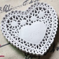 Wholesale Heart Shape Paper Lace Doily - Wholesale- Heart Shape Lace decoupage paper design Doilies Placemat Crafts for DIY Scrapbooking Card Making Wedding Table Decoration 10cm