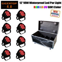 Flight Case Packing 12 18 W RGBWA Sharpy exterior Led Par latas Die Casting cubierta de vidrio de aluminio Big Housing 1 m Power / DMX Cable 110V-220V