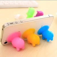 Wholesale Pig Cups - Mini Pig Mobile Phone Holder Cell Phone Mounts Holder Silicone Suction Cup For Mobile Tablet PC 100pcs lot Universal Phone Holder