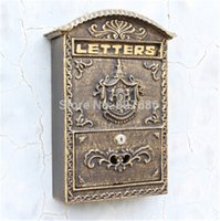 Wholesale Metal Decor Wholesalers - Cast Iron Mailbox Postbox Embossed Trim Decor Metal Mail Post Letters Box for Yard Patio Lawn Garden Outdoor Wall