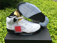 2016 Retro 5 Olympic White Black Gold Femmes Hommes Basketball Shoes Sneakers Cheap Retro V 5s Olympic Gold Tongue Chaussures Sport Haute Qualité