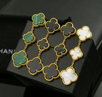 Wholesale Flower Ear Cuff Stud Earring - Fine Special Offer Women love Earings Fashion clover jewelry Ear Cuff Natural Shell Agate Clover Sizes 18k Stud 3 flowers Earrings