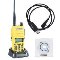 câbles de programmation baofeng achat en gros de-Gros-NKTECH câble de programmation USB et BAOFENG UV-82 double bande VHF UHF 136-174 / 400-520 MHz PTT deux voies radio Walkie / Talkie jaune