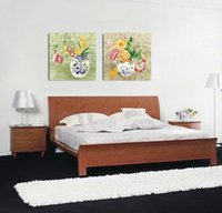 ingrosso stampa delle farfalle-unframed 2 Pieces abstract picture free shipping Decorazione della casa Stampe su tela Vaso in porcellana Cartoon flower butterfly frog Lotus butterfly