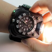 Wholesale Sport Climbing Compass Watch - 3in1 Super Bright Led Watch Flashlight Torch lights Compass Outdoor Sports Mens Fashion Waterproof Rechargeable Wrist Watch Lamp