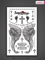 Wholesale Beautiful Back Tattoos - Women beautiful temporary tattoos angel wing cross word body back waterproof large transfer tattoo stickers high quality designs