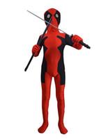 костюм xxxl deadpool оптовых-Дети Дэдпул костюм fullbody красный черный дети Дэдпул костюмы для Хэллоуина шоу ,унисекс, S/M/L/XL / XXL / xxxl