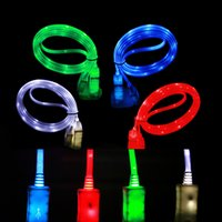 Wholesale Iphone Charging Cable Led - Data cable LED light data line mobile phone general USB charging line android luminescent data line