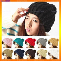 Wholesale Vintage Beanie Hats - 10x2015 Winter Fashion Women Ladies Wool Knit Knitted Beanie Vintage Bobble Cap Pom Pom Ski Hat 10 Colors Free Shipping