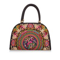 Wholesale Embroidery Wallets - Wholesale-Fashion national embroidery women Handbags canvas baguette bag