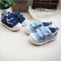 Wholesale Cow Baby Shoes - Free shipping 2016 new fashion children blue denim casual canvas shoes for boys baby rubber cow muscle hook & loop 2 colors