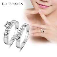 Wholesale Imitation Engagement Rings White Gold - lapasion Brand White Gold Plated 0.5ct Brilliant with Pave Band Cubic Zirconia Wedding Ring Set for wedding women fashion jewelry
